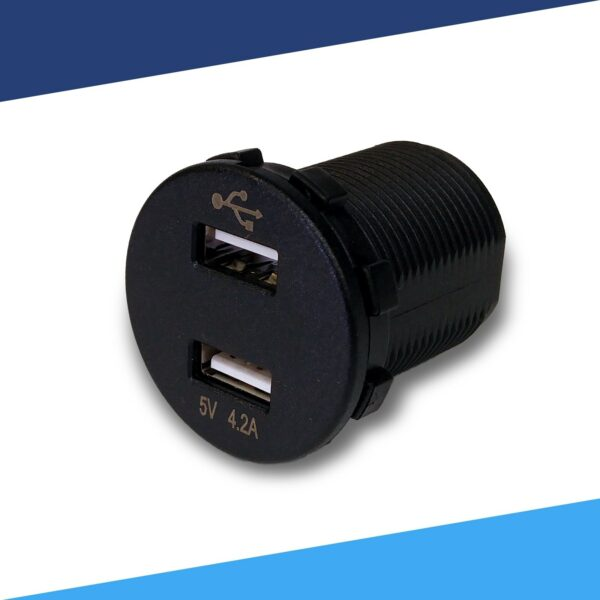 12VDC USB vehicle charger Voltmeter angled 600x600 - Voltmeter USB Charger Dual Ports for Auto or Marine