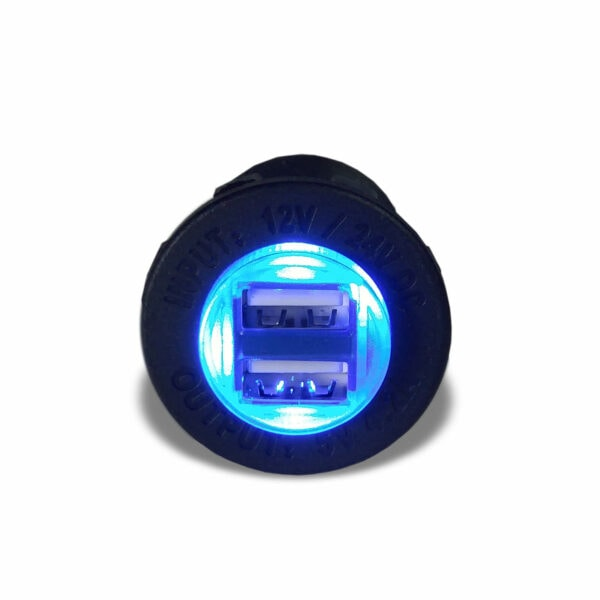Blue USB Port illuminated powered front 600x600 - Dual port waterproof USB charger with Blue LED