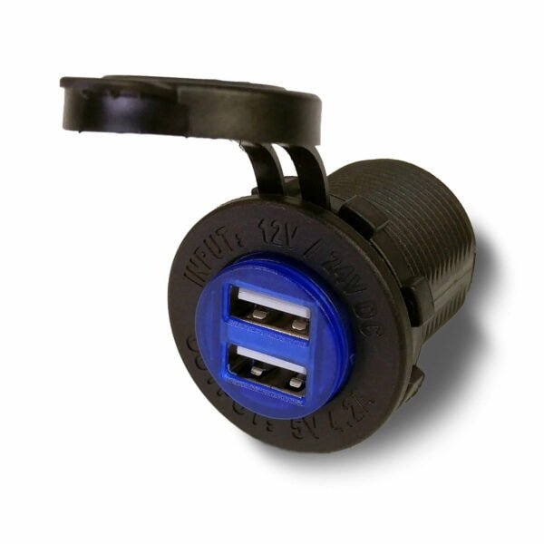 Blue USB Port open angle 600x600 - Dual port waterproof USB charger with Blue LED