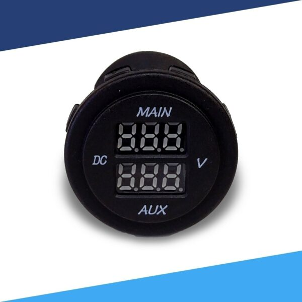 Dual battery monitor 12V Voltmeter front S 600x600 - Dual Battery Voltmeter Monitor 12VDC for Main and AUX Battery