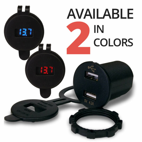 Isolated Dual USB Black Charger with Voltmeter front 2 COLORS red blue 600x600 - Voltmeter USB Charger Dual Ports for Auto or Marine