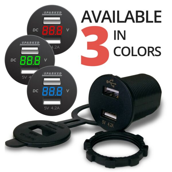 Isolated Dual USB Black Charger with Voltmeter front 3 COLORS red blue green 600x600 - Voltmeter USB Charger Dual Ports for Auto or Marine