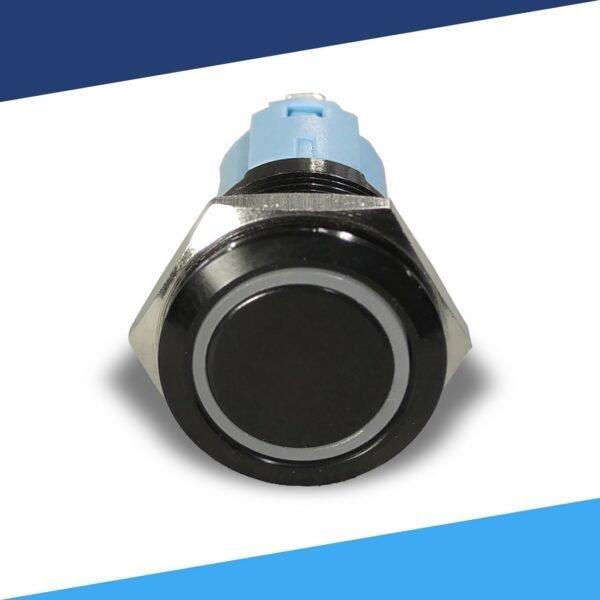 12V Black Halo Ring Light Switch SPDT front 8bit 600x600 - Black Momentary 12V Push Button Switch SPDT Halo Ring