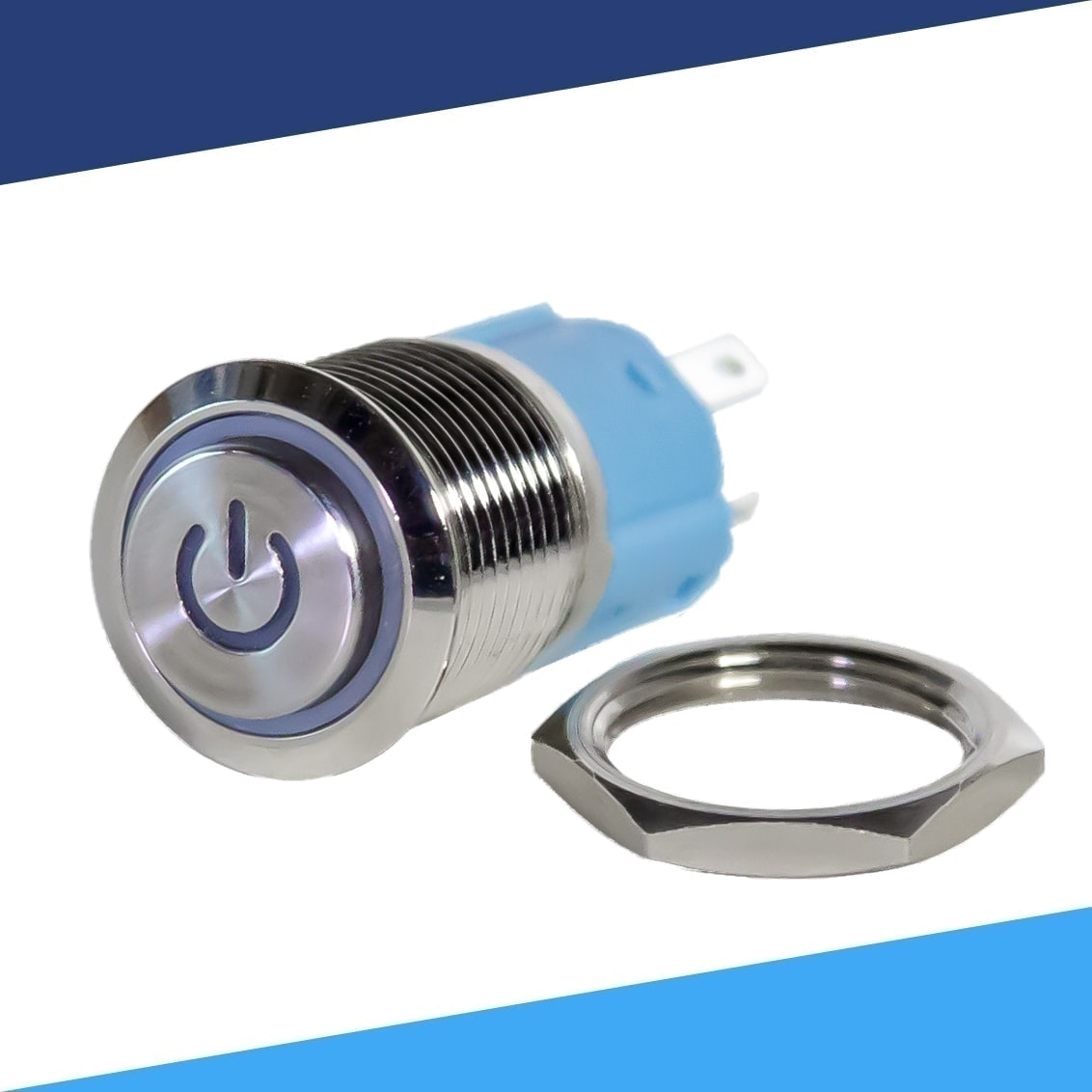 16mm 12V Red LED Power Push Button Switch Aluminum Metal Latching Waterproof/_RU