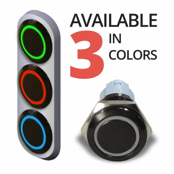 Isolated Black Halo Ring Switch front 3 COLORS 600x600 - Black Momentary 12V Push Button Switch SPDT Halo Ring