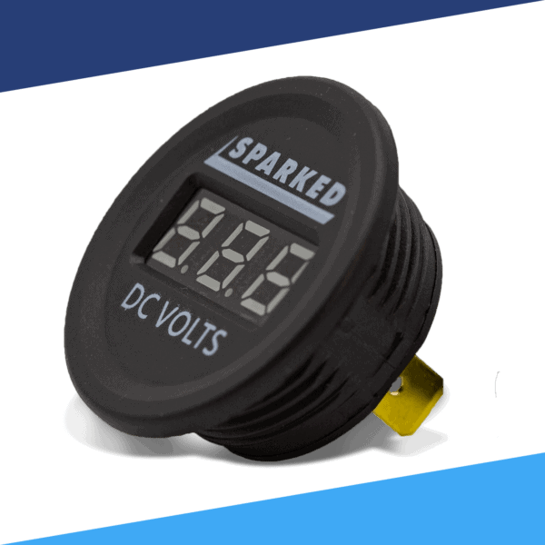 Single 12VDC Voltmeter Front Sparked DC VOLTS 2020 600x600 - Single 12VDC Voltmeter Battery Voltage Monitor