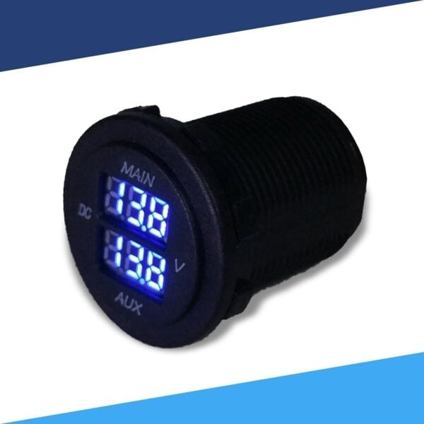 Dual 12VDC Battery Voltage Monitor angle blue S 600x600 - Dual Battery Voltmeter Monitor 12VDC for Main and AUX Battery