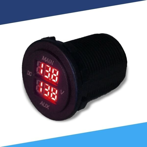 Dual 12VDC Battery Voltage Monitor angle red LED S 600x600 - Dual Battery Voltmeter Monitor 12VDC for Main and AUX Battery