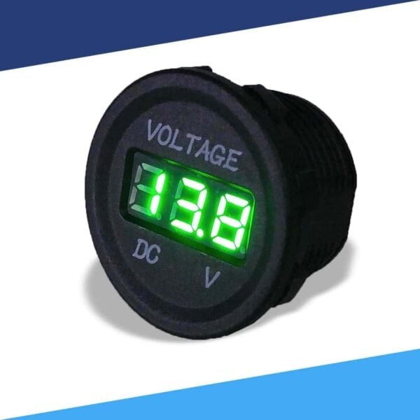 Single display 12V voltmeter angle color green S 600x600 - Single 12VDC Voltmeter Round Cigarette Lighter Size