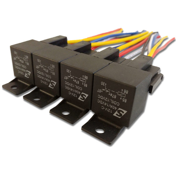 Automotive Relay Four Pack 40A 14VDC 12V 1 600x600 - 40A Automotive Relay 12VDC Coil w/ Wire Harness