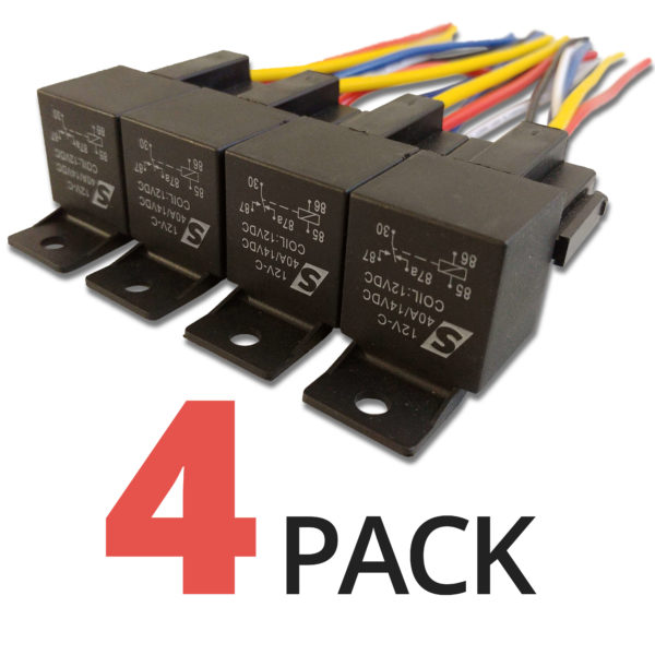 Automotive Relay Four Pack 40A 14VDC 12V angle 600x600 - 4 PACK - 40A Automotive Relay 12VDC Coil w/ Wire Harness