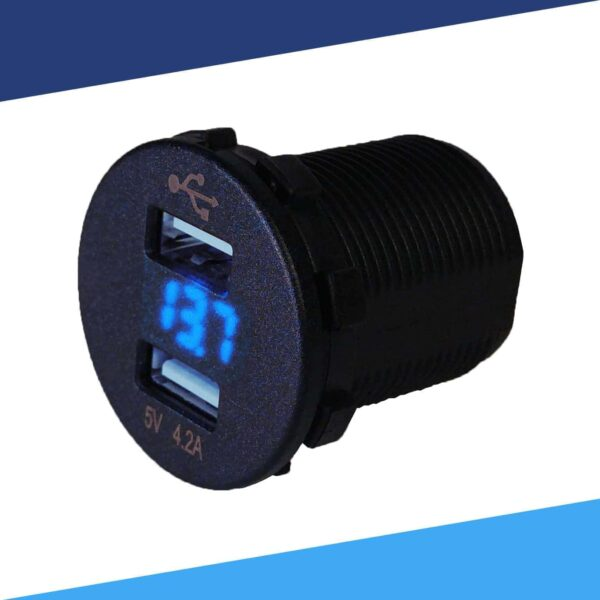 Dual USB charger voltmeter blue LED angle disassembled S 600x600 - Voltmeter USB Charger Dual Ports for Auto or Marine