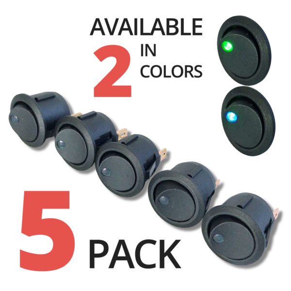 Illuminated Rocker Switch with 2 colors green blue LED 5 pack 600x600 - MIX and MATCH 5-PACK 12V Rocker Switch Illuminated 3 pin SPST
