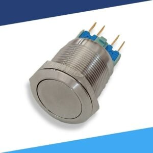Metal 4 pin waterproof 22mm latching push button switch angle2 S 300x300 - Aluminum Latching 12V Push Button Switch SPDT Halo Ring