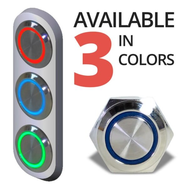 Aluminum Halo Ring Switch front 3 COLORS red blue green 600x600 - Aluminum Momentary 12V Push Button Switch SPDT Halo Ring