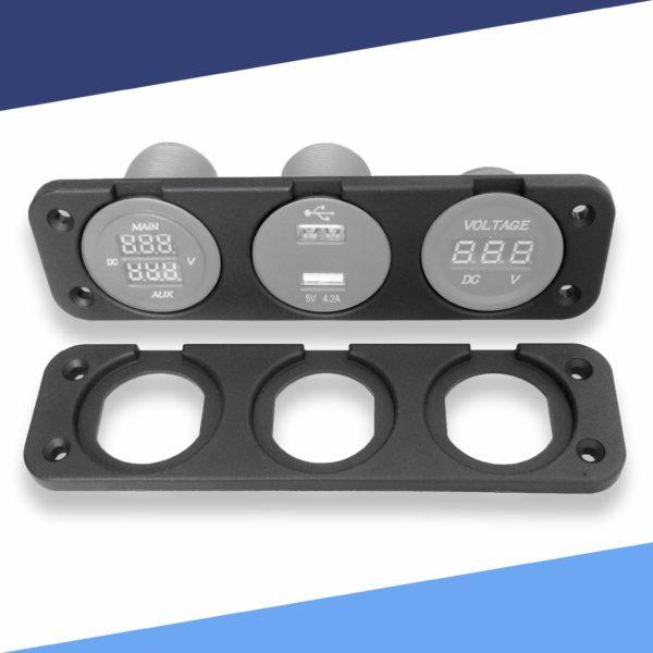 Triple Gauge Mounting Plate with Meters S 600x600 - Triple Voltmeter and Gauge Panel Mounting Plate ABS