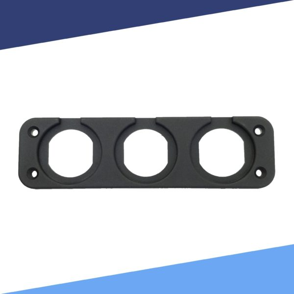 Triple Gauge Mounting Plate without Meter front view S 600x600 - Triple Voltmeter and Gauge Panel Mounting Plate ABS
