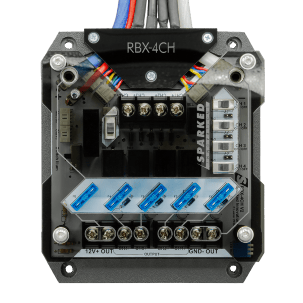RBX 4CH Hero shot Front 2020 600x600 - RBX-4CH 12V Switchable Four-Channel Relay Box