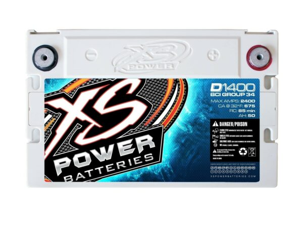 D1400 XS Power 14VDC AGM Car Audio Battery 2400A 50Ah top 600x479 - D1400 XS Power 14VDC AGM Car Audio Battery 2400A 50Ah Group 34