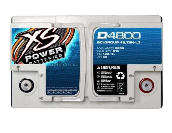 D4800 XS Power 12VDC AGM Car Audio Battery 3000A 60Ah top 600x467 - D4800 XS Power 12VDC AGM Car Audio Battery 3000A 60Ah Group 48