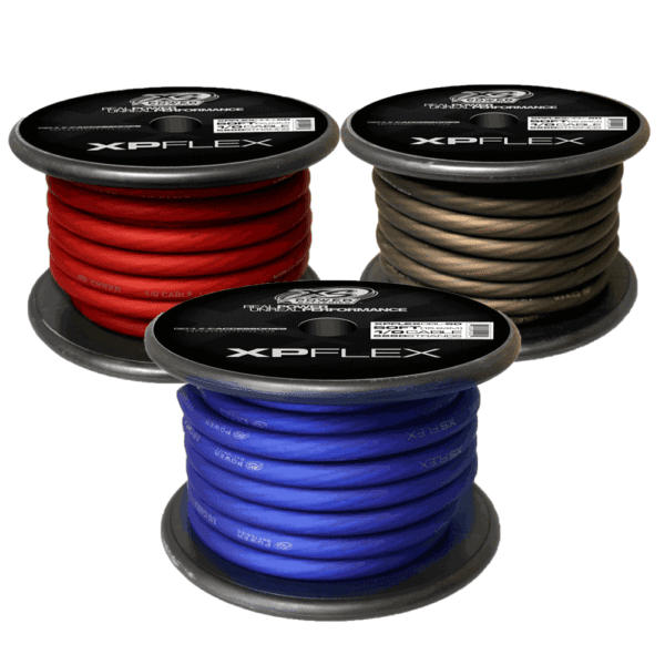 Red Blue Black XS Power 1 0 AWG Gauge XP Flex Power and Ground Cable XPFLEX0 50 600x600 - XS Power 1/0 AWG Gauge XP Flex Car Audio Power and Ground Cable 50ft spool