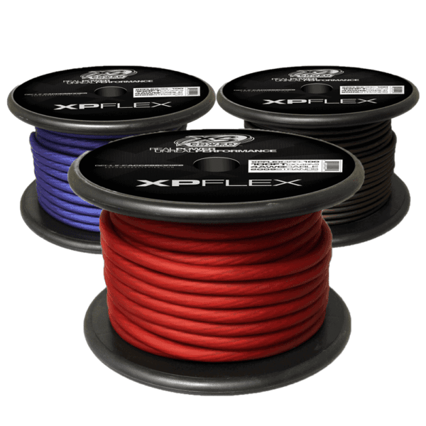 Red Blue Black XS Power 4 AWG Gauge XP Flex Power and Ground Cable XPFLEX4 100 600x600 - XS Power 4 AWG Gauge XP Flex Car Audio Power and Ground Cable 100ft spool