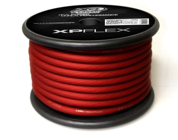 Red XS Power 2 AWG Gauge XP Flex Power and Ground Cable XPFLEX2RD 100 turn 600x473 - XS Power 2 AWG Gauge XP Flex Car Audio Power and Ground Cable 100ft spool