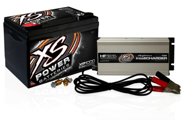 XP1000CK2 XS Power 16VDC AGM Car Audio Battery and Charger Combo Kit 600x394 - XS Power XP1000CK2 16VDC AGM XP1000 Battery and HF1615 IntelliCHARGER Combo Kit