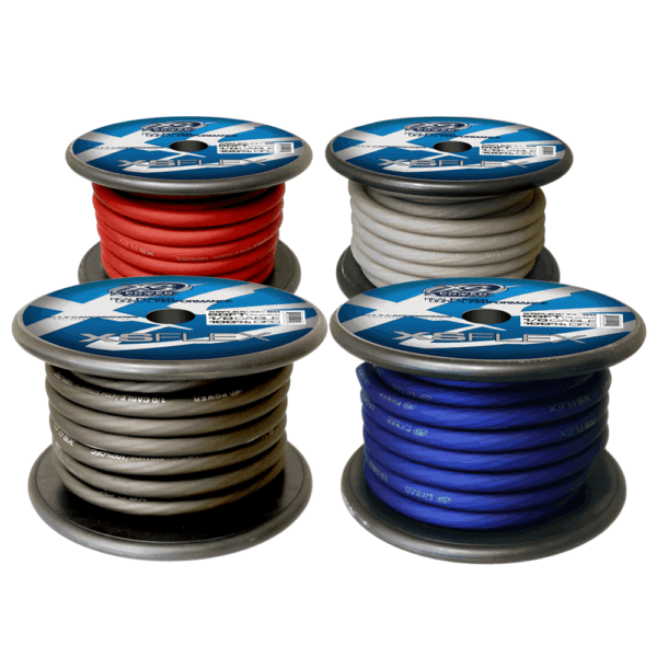XS Power 10 AWG Gauge XS Flex 100 Oxygen Free Tinned Copper Power and Ground Cable 50ft spool Red Blue Black Clear 600x600 - XS Power 1/0 AWG Gauge XS Flex 100% Oxygen Free Tinned Copper Power and Ground Cable 50ft spool