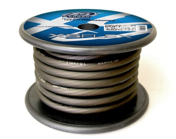 XS Power 10 AWG Gauge XS Flex 100 Oxygen Free Tinned Copper Power and Ground Cable 50ft spool XSFLEX0BK 50 Iced Black 600x473 - XS Power 1/0 AWG Gauge XS Flex 100% Oxygen Free Tinned Copper Power and Ground Cable 50ft spool