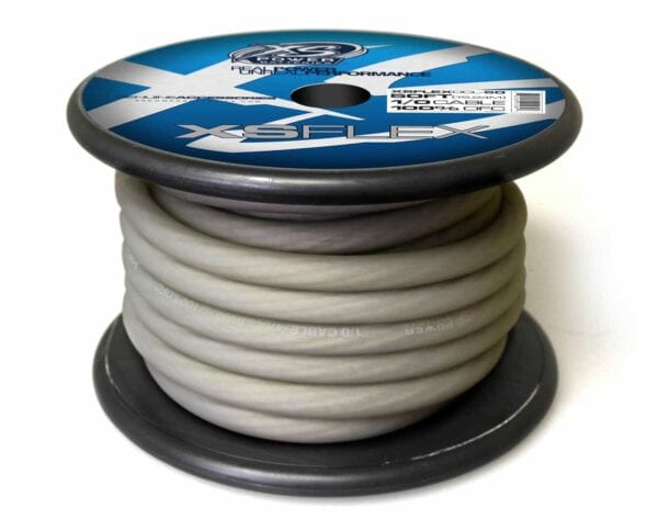 XS Power 10 AWG Gauge XS Flex 100 Oxygen Free Tinned Copper Power and Ground Cable 50ft spool XSFLEX0CL 50 Iced Clear 600x473 - XS Power 1/0 AWG Gauge XS Flex 100% Oxygen Free Tinned Copper Power and Ground Cable 50ft spool