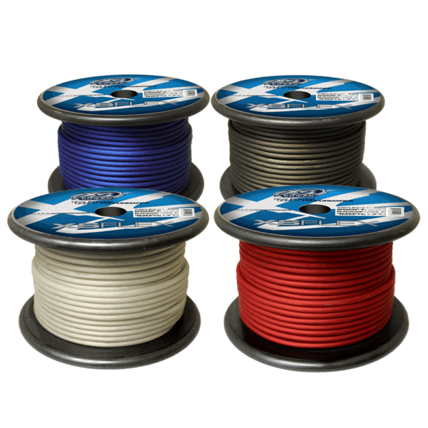 XS Power 8 AWG Gauge XS Flex 100 Oxygen Free Tinned Copper Power and Ground Cable 250ft spool Red Blue Black Clear 600x600 - XS Power 8 AWG Gauge XS Flex 100% Oxygen Free Tinned Copper Power and Ground Cable 250ft spool