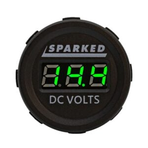 Single DC Voltmeter Green Front Sparked DC VOLTS 2019 300x300 - Single 12VDC Voltmeter Battery Voltage Monitor