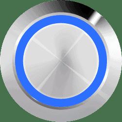 Aluminum Illuminated Halo Ring Blue SPDT 12V Pushbutton Switch - Aluminum Latching 12V Push Button Switch SPDT Halo Ring
