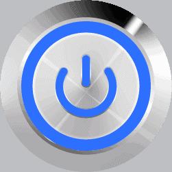 Aluminum Illuminated Power Symbol Blue SPDT 12V Pushbutton Switch - Aluminum Latching 12V Push Button Switch SPDT Power Symbol