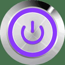 Aluminum Illuminated Power Symbol Purple SPDT 12V Pushbutton Switch - Aluminum Latching 12V Push Button Switch SPDT Power Symbol