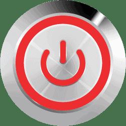 Aluminum Illuminated Power Symbol Red SPDT 12V Pushbutton Switch - Aluminum Latching 12V Push Button Switch SPDT Power Symbol