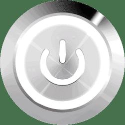 Aluminum Illuminated Power Symbol White SPDT 12V Pushbutton Switch - Aluminum Latching 12V Push Button Switch SPDT Power Symbol