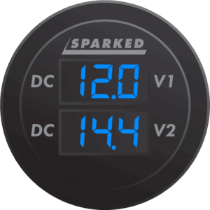 Dual Volt Meter Illuminated front Blue 300x300 - Sparked Innovations | Clever Electronic Solutions