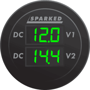 Dual Volt Meter Illuminated front Green 300x300 - Sparked Innovations | 12V Custom Automotive Electronics