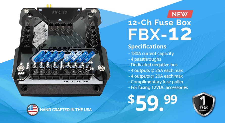 12 CH Fuse Box FBX 12 - Sparked Innovations | 12V Custom Automotive Electronics