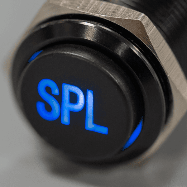 Black Blue LED SPL switch sound pressure level Plain 600x600 - SPL Black Latching 12V Pushbutton Switch SPDT - Plain Font