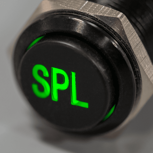 Black Green LED SPL switch sound pressure level Plain 600x600 - SPL Black Latching 12V Pushbutton Switch SPDT - Plain Font
