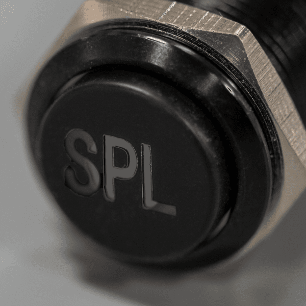 Black SPL switch 600x600 - SPL Black Latching 12V Pushbutton Switch SPDT - Plain Font