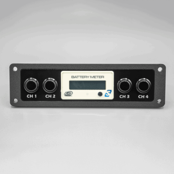 Single DIN XS Power Battery Meter Switch Panel 600x600 - Single DIN Switch Panel with XS Power Battery Monitor Voltmeter