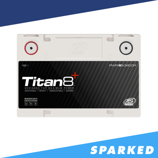 PWR S5 3400R top Power Series Titan 8 XS Power 12VDC Lithium Titanate Oxide LTO Car Audio Battery 600x600 - PWR-S5-3400R XS Power 12VDC Group 34R Lithium LTO Car Audio Battery 5000W 120Wh